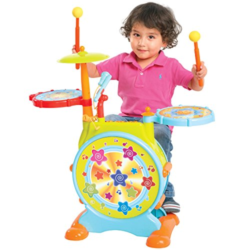 best-choice-products-kids-electronic-toy-drum-set-with-adjustable-sing-along-microphone-and-stool