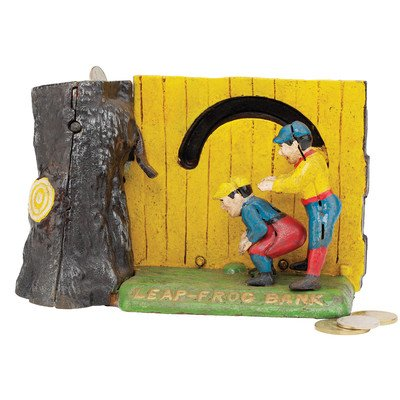 Design Toscano Leap Frog Collectors' Die-Cast Iron Mechanical Coin Bank