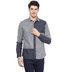 Atorse Mens Self Check Cut and Sew Navy Casual Shirt