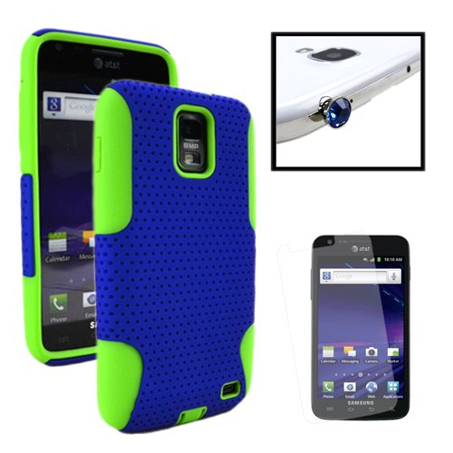 Miniturtle, Dual Layer Mesh Hybrid Phone Case Cover, Screen Protector Film, And Gem Dust Cap Kit For At&T Smartphone Samsung Galaxy S2 Ii Skyrocket Sgh-I727 (Blue / Green)