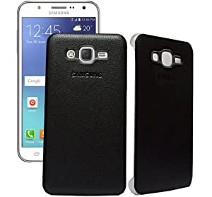 ECellStreet Hard Textured Leather Case Back Case Back Cover For Samsung Galaxy J7 J700F - Black