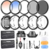 Neewer® 58MM Photography Accessory Kit: Filter Set(UV+CPL+ND8)+Close-up Filter(+1/+2/+4/+10)+Graduated Color Filter+Cleaning Set+Diffuser Set+Tulip/Collapsible Lens Hood+Lens Cap+Filter Pouch