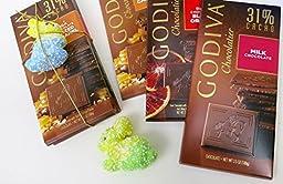 Mother\'s day gift, Godiva basket, Godiva Bars, Dark Chocolate Blood Orange, Milk Chocolate Salted Caramel, and Milk Chocolate, Size 3.5 Oz, Three Pack Gift Set.