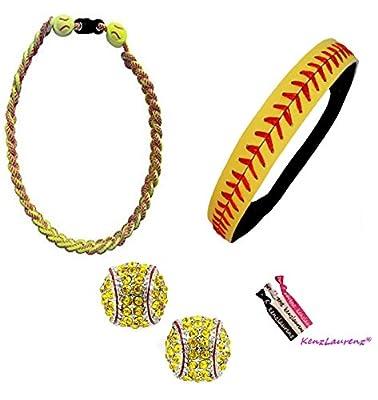 Softball Headband Set - Leather Seamed Headbands Yellow with Red Stitching, Softball Post Earrings, Softball Titanium Necklace, Softball Bow Hair Ties by Kenz Laurenz