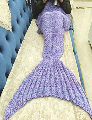 Mermaid Schwanz Blanket, ZQL Meerjungfrau Häkeln Decke Sofa Schlafdecke, weiche Strick Mermaid Schwanz Schlafsack für Erwachsene, All Season Schlafsack (Lila) thumbnail