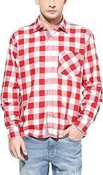 Y.U.V.I. Men's Cotton Regular Fit Casual Shirt (11112999-M, Red & White, Medium)