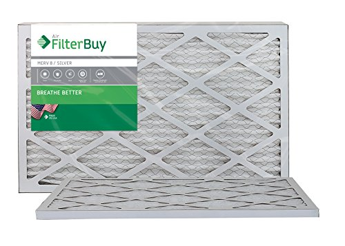 AFB Silver MERV 8 12x24x1 Pleated AC Furnace Air Filter. Pack of 2 Filters. 100% produced in the USA.