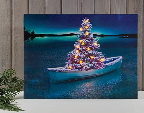 Pre-Lit Led Christmas Tree In Boat Canvas Art Print Winter Wall Décor 22X16