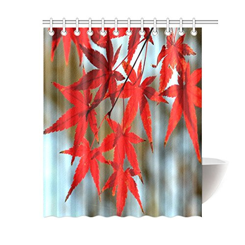 """Fashion Waterproof Fabric Bath Screen Red Maple Leaves Shower Curtain Bathroom With Rings 60""""x72"""""""
