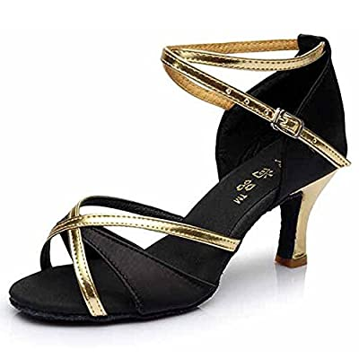 Hot-Selling Brand New Latin Dance Shoes High Heel for Ladies/Girls/Women/Ballroom Tango Shoes 7cm-Black with Gold,6