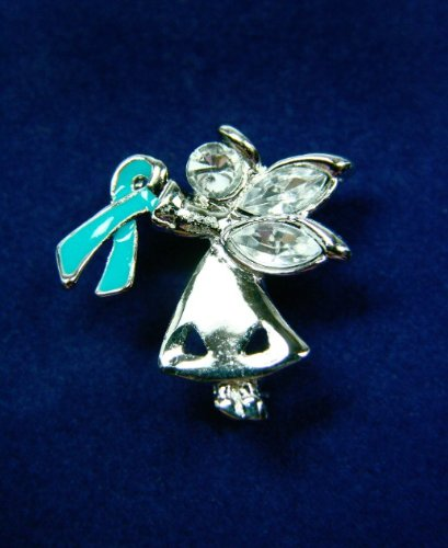 Teal Ribbon Pin-Angel By My Side (27 Pins)