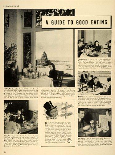 1941 Ad H J Heinz Co Tomato Ketchup Vinegar Dining Hotel Hershey Pennsylvania - Original Print Ad