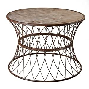 Amazoncom 255quot antique retro style rusted metal round for Wire round coffee table