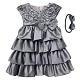 Isobella & Chloe Silver Hope Dress and Headband. Silver. Size (3m-3T).