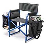 Picnic Time Original Design Outdoor Folding Fusion Chair, Gray with Blue Frame