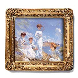 "Summer - Gold Frame Magnet with pop-out easel (2-3/4"" x 2-1/2"")"