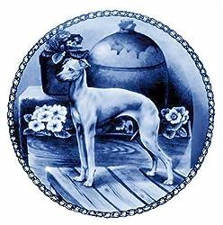 Italian Greyhound: Danish Blue Porcelain Plate