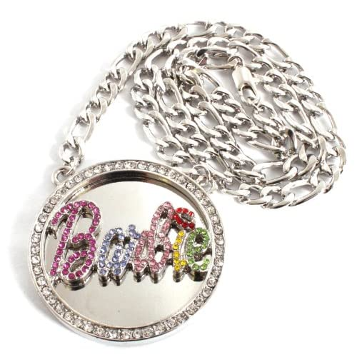 Silver with Multi Iced Out Nicki Minaj Barbie Pendant with 20 Inch Link Necklace Chain