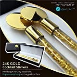 Zone - 365 Glass Swizzle Sticks 24K Gold Cocktail Stirrers - Wedding, Home, and Entertainment Party Supplies by Zone - 365 Set of (2) with Beautiful Gift Box