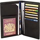 Falcon FI4005L Black Travel leather passport / document wallet / holder / case. Excellent leather gift idea.