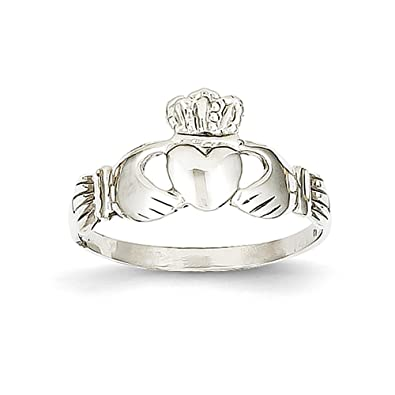 14k White Gold Ladie's Claddagh Ring