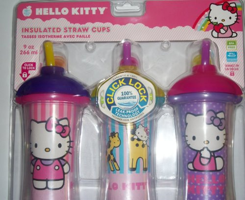 Munchkin Hello Kitty Click Lock Insulated Straw Cups BPA Free 9oz 266ml - 3pk