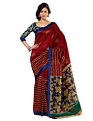 Prafful Silk Bhagalpuri Printed Saree With Unstitched Blouse - B00KNUEED6