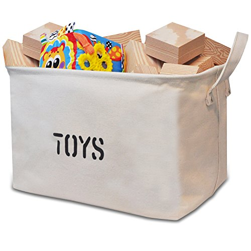 Canvas Storage Bin for Toy Storage - Storage Basket for organizing Baby Toys, Kids Toys, Baby Clothing, Children Books, Gift Baskets. (Baby Fabric Baskets compare prices)