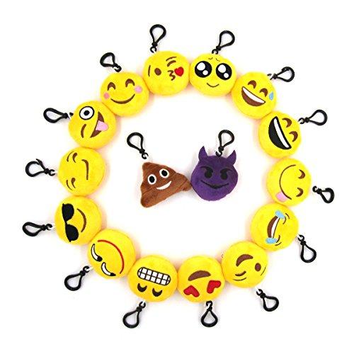 Krois-Emoji-Mini-Plush-Pillows-Keychain-Decorations-Kids-Party-Supplies-Favors-Set-of-16