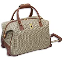 London Fog Luggage Chelsea 20 Inch Wheeled Club Bag, Olive Plaid, One Size