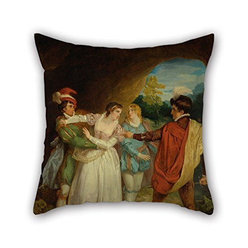 Uloveme Oil Painting Francis Wheatley - Valentine Rescuing Silvia From Proteus, From Shakespeare's 'The Two Gentlemen Of Verona,' Act V, Sce Pillowcover ,best For Adults,couch,wife,gril Friend,birth