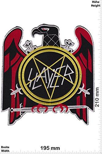 Patch - Slayer -pentagram - 21 cm - BIGPATCH - Rocker - Biker - Vest - Iron on Patch - toppa - applicazione - Ricamato termo-adesivo - Give Away