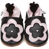 Chaussons Bébé en cuir doux - Grande Fleur - 6/12 mois