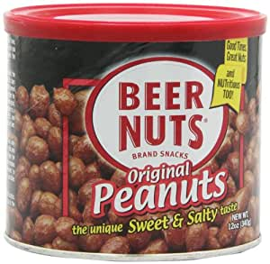 BEER NUTS Original Peanuts, 12-Ounce Cans (Pack of 6)