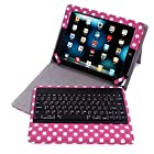HDE Folding Leather Folio Case Cover Stand w/ Removable Bluetooth Keyboard for iPad 2/3/4 Tablet (Pink Polka Dot)