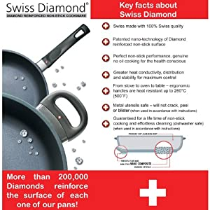 "Swiss Diamond Nonstick Fry Pan with Lid - 10.25"""