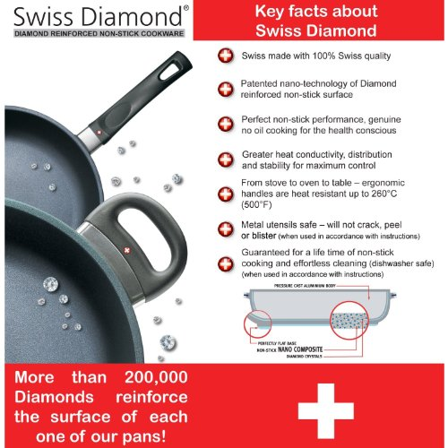 Swiss Diamond Non-stick Cast Aluminium 3 Litre Shallow Casserole with Glass Lid, 24 cm, Grey/Black