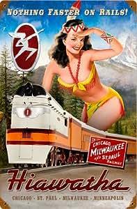 Amazon.com: Railroad Tin Sign - MILWAUKEE RAIL GIRL / Hiawatha: Home