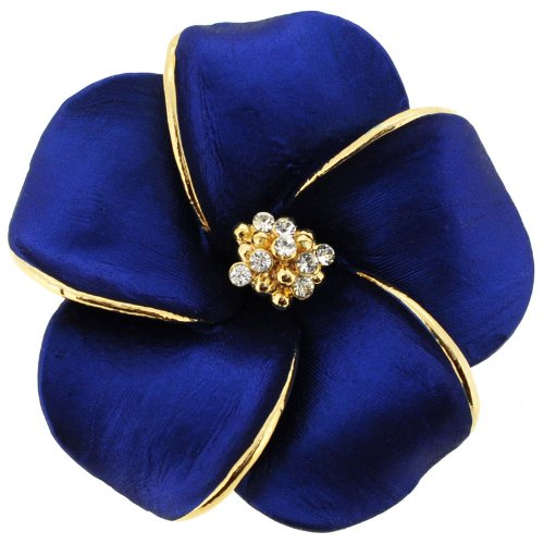 Blue Hawaiian Plumeria Flower Pin Swarovski Crystal Pin Brooch And Pendant(Chain No Included)