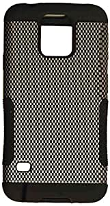 Cell Armor Samsung Galaxy S5 Hopper Protective Case - Retail Packaging - Carbon Fiber Snap and Black Skin