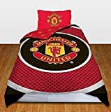 MAN UNITED BULLSEYE SINGLE DUVET SET QUILT COVER MANCHESTER UTD FOOTBALL BEDDING