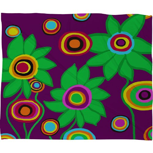 Deny Designs Paula Ogier Flower Power 1 Fleece Throw Blanket, 40-Inch By 30-Inch