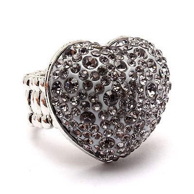 Bubbly Crystal Rhinestone Heart Stretch Adjustable Ring Valentine Silver Gray