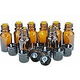 10 Ml Amber Glass Bottle W/euro Dropper. Black Cap. 8 Pack