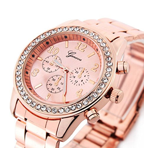 Geneva Rose Gold Plated Classic Round CZ Stainless