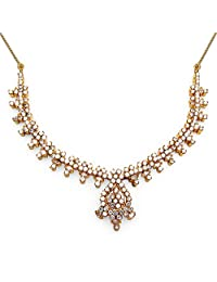 33.00 Grams White Cubic Zirconia Gold Plated Brass Necklace Set