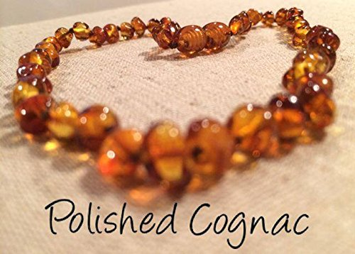 Baltic Amber Teething Necklace for Babies and Toddlers Polished Cognac - 1