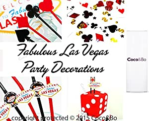 5 x Coco&Bo Fabulous Las Vegas - Red & Black 3 ply Paper Napkins - Cocktail Party Accessories - Casino Poker Night Card Party James Bond Theme