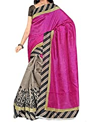 RGR Enterprice Woman's Bhagalpuri Designer Saree (Avr pink_Multi-Coloured_Free Size)