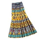 可愛い マキシスカート 2WAY ホルターネック ワンピース ベアトップ エスニック調 色選択できます (黄色)